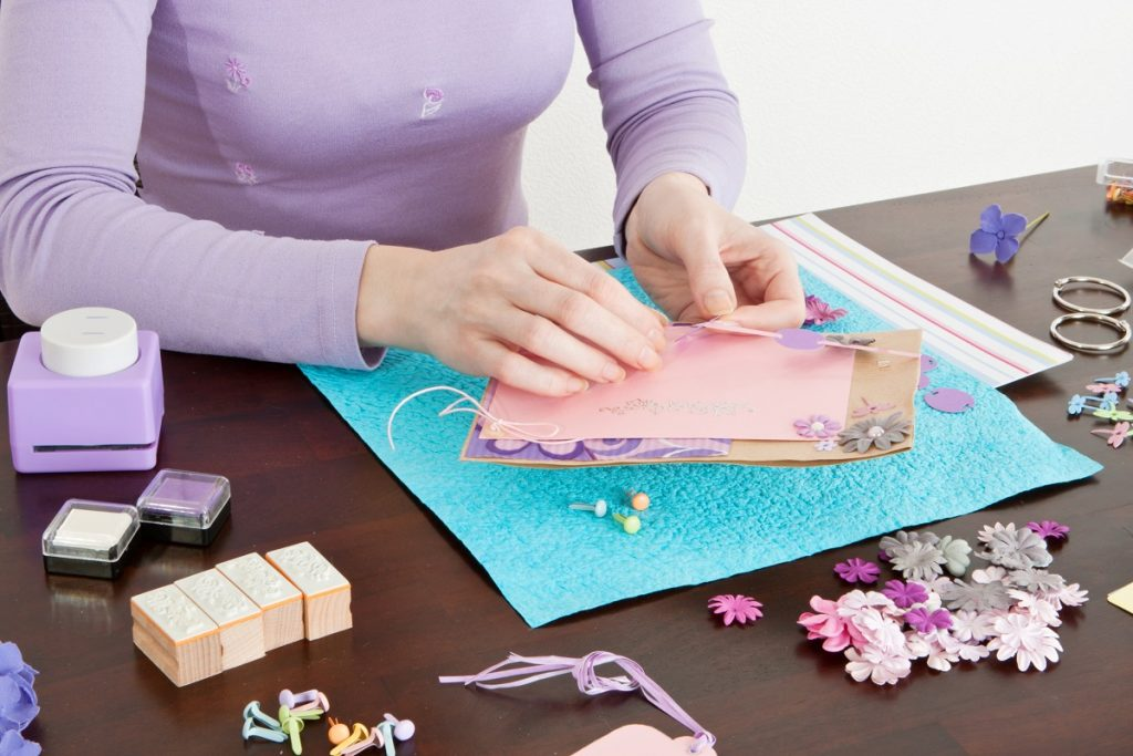 woman doing an arts and crafts project