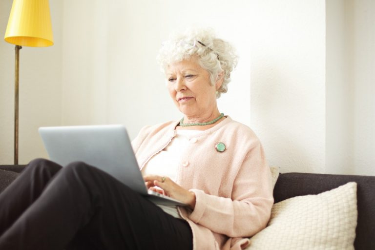 Granny on a laptop